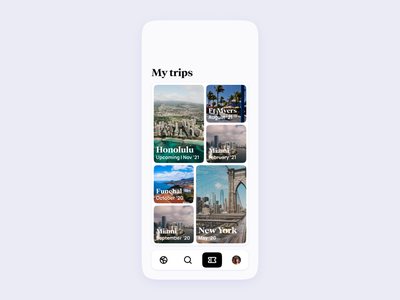 Airline App UI | My trips pass boarding clean minimal modern expedia booking airport airlines airline flights flight tickets ticket traveling travel design concept ui app