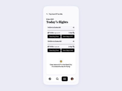 Airline App UI | Today's flights pass boarding minimal clean modern expedia booking airport traveling travel flights flight tickets ticket airlines airline design concept ui app