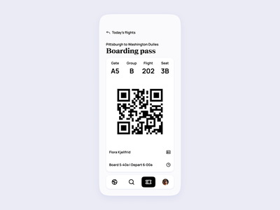 Airline App UI | Boarding pass traveling travel pass boarding minimal modern clean expedia booking tickets ticket airport flights flight airlines airline design concept ui app