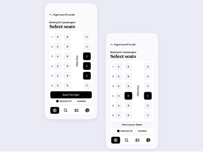 Airline App UI | Seat selection pass boarding minimal modern clean booking expedia traveling travel airport airlines airline flights flight tickets ticket design concept ui app