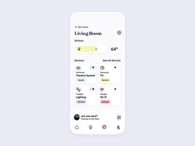 Smart Home App UI | Room design switch control device concept interface thermostat automation iot appliance mimimal modern clean homekit remote house home smart intelligent ui