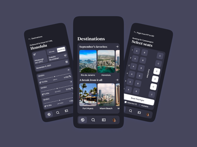 Airline App UI | Dark Mode minimal modern clean pass boarding traveling travel flights flight expedia booking tickets ticket airport airlines airline design concept ui app