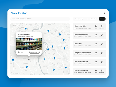 Web Store Locator - #DailyUI interface flat store design webdesign website ui app ecommerce map blue store locator web
