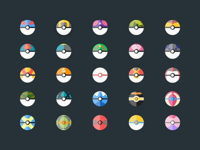 Special Pokéballs icons ball design fun kids teen illustrations special icons pokeball