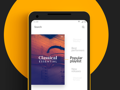Discover - ClassicApp - #Designflows2019 #1 music app classical dot design contest designflows sketch music android flat interface ux ios ui app