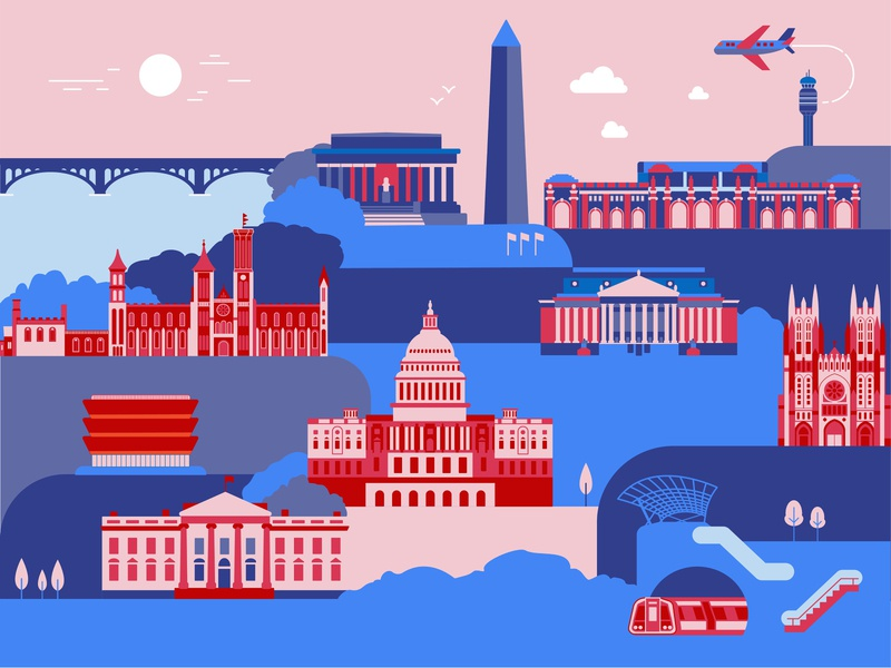 DC Cityscape vector illustration minimal illustrator illustration icon flat design