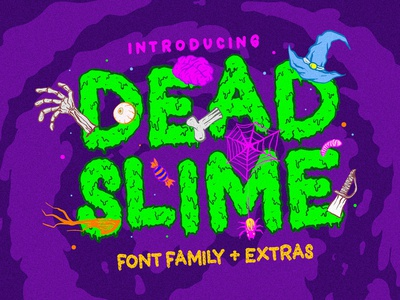 Dead Slime Font Familly + 50 Illustrations