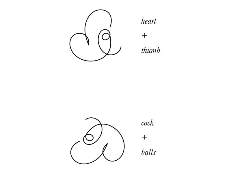 heart on ampersand balls cock thumb heart