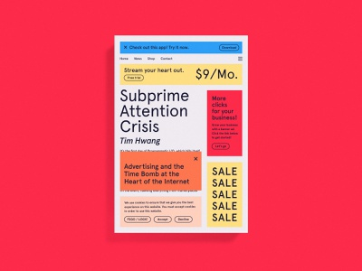 Subprime Attention Crisis Cover internet banner ads pop ups advertising tech print dust jacket cover art book cover book