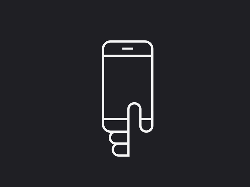Hold My Phone line art mono weight text simple icon hand phone