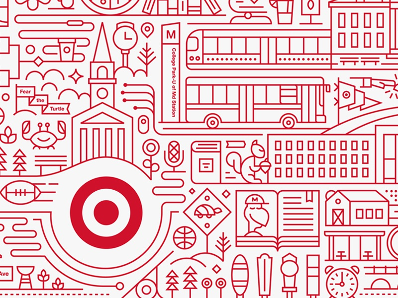 Target Express maryland college target line art monoweight illustration
