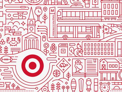 Target Express maryland college target line art monoweight illustration