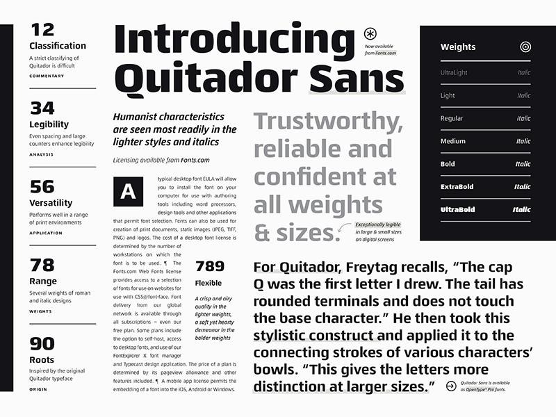 Fonts.com Quitador Sans editorial layout specimen fonts.com font type