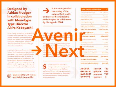 Fonts.com Avenir Next type specimen layout avenir fonts.com font