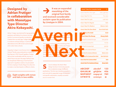 Fonts.com Avenir Next type specimen layout avenir fonts.com font