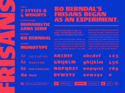 Fonts.com Frisans frisans monotype font fonts.com layout specimen type editorial