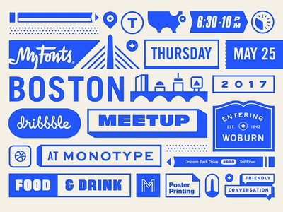 MyFonts Boston Dribbble Meetup type city illustration boston meet up dribbble monotype myfonts fonts