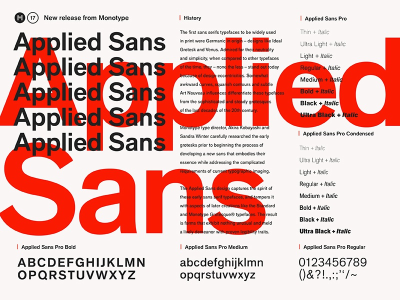 Fonts.com Applied Sans (New Release) editorial type specimen layout fonts.com font monotype applied sans
