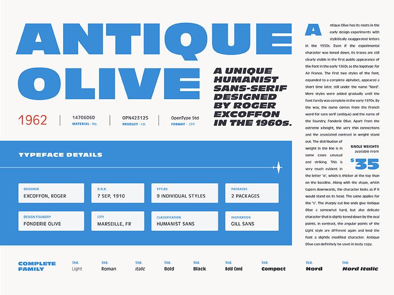 Fonts.com Antique Olive fonts.com sans antique olive specimen fonts type