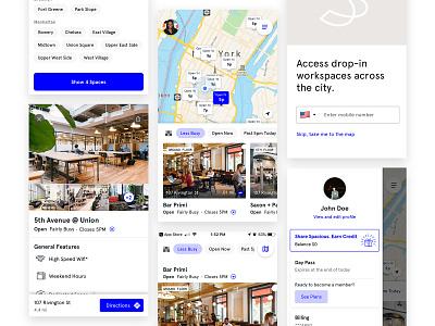 Spacious App Redesign ui app ui redesign app design login workspace maps chips