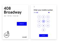 WeWork Go Sign In userflow kiosk ipad ui