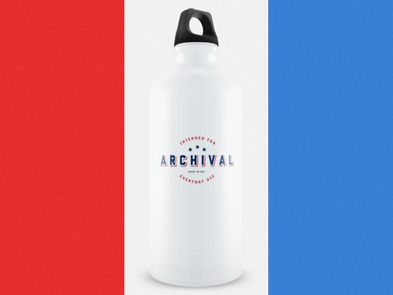 Archival Water Bottle badge logo americana oregon clothing mockup heritage american