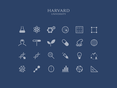 Science icon set for Harvard University