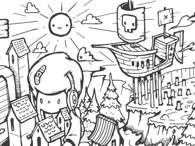Doodle illustration drawing pen header