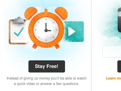 Givetime illustration clipboard clock video payment credit card grooveshark