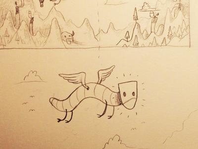 Brain Flurrying sketch monster creature pencil wormdragon givt