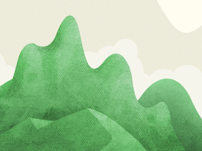 Scratched Illo: Rolling Hills, La Di Da hills texture clouds givt setting stage
