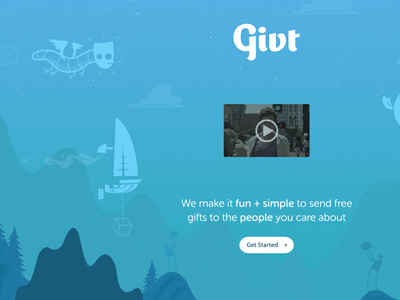 Givt Preview illustration givt world flat creatures homepage splash page