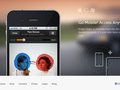 Mobile Portion of Grooveshark's /New Page mobile devices new release teaser landing icons