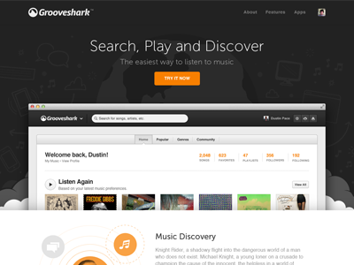 Grooveshark / New Landing Page landing splash promotion new features launch illustrations css animations