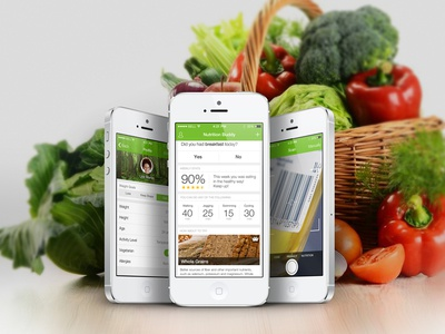 Food app food app iphone ios7 green nutrition calories tracker