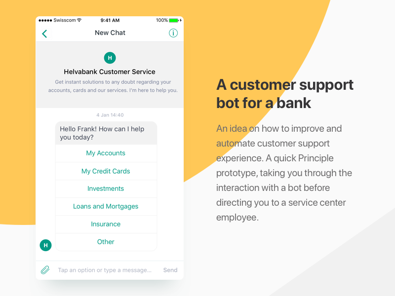 A customer support bot for a bank