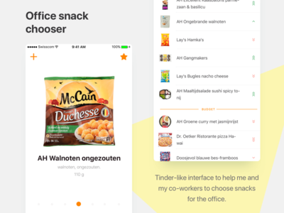 Office Snack Chooser list food tinder vote snacks office