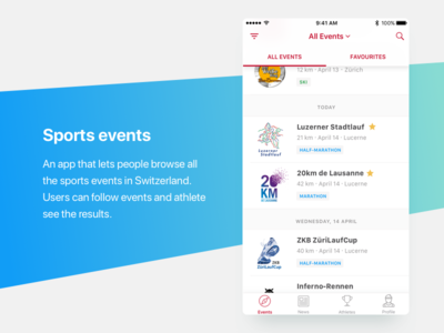 Spots app ios list events sport