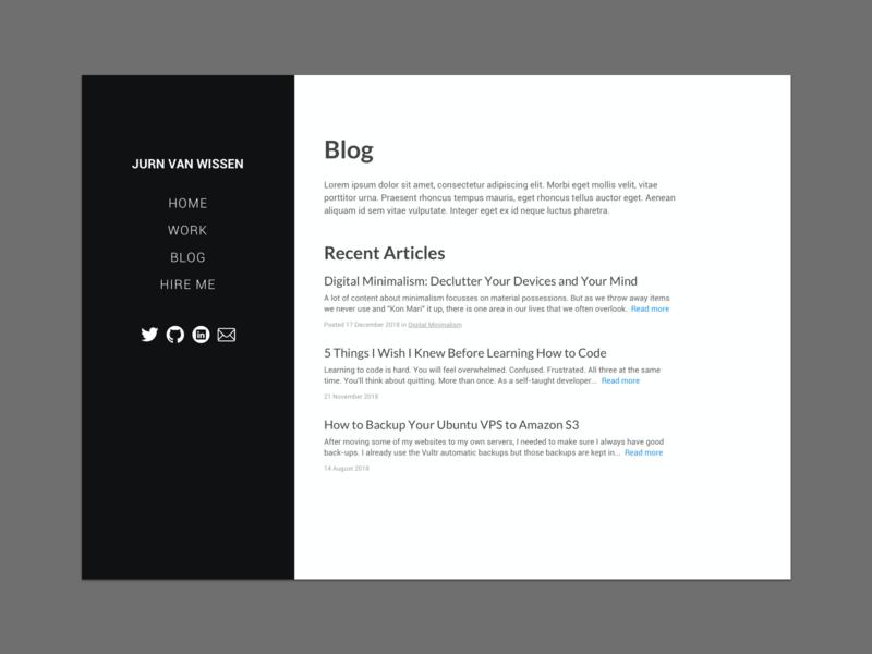 Blog homepage - personal website typography web ui