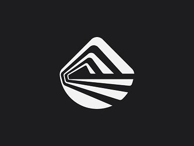 The Mount white black minimal symbol sun snow mark road field nature mountain logo