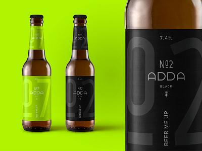ADDA Beer Packaging bottle symbol typography minimal black brid adda branding logo pack packaging beer