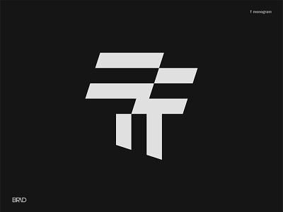 T monogram 2019 poster letter vector icon color brid black overlapping logotype line illustration typography brand identity branding design symbol mark logo