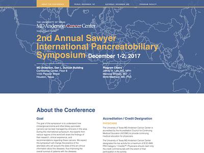 2nd Annual Sawyer International Pancreatobiliary Symposium houston ux  ui website