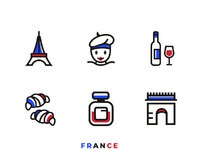Design an icon set of france