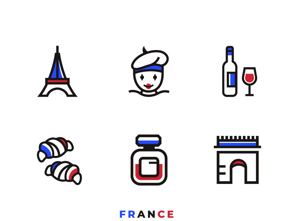 Icon Set Of France corporate branding illustration logo design esolzlogodesign icon france