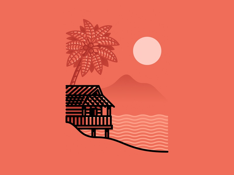House at the beach minimalistic beach palmtree house sunset landscape illustration