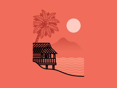 House at the beach minimalistic beach palmtree house sunset landscape illustration