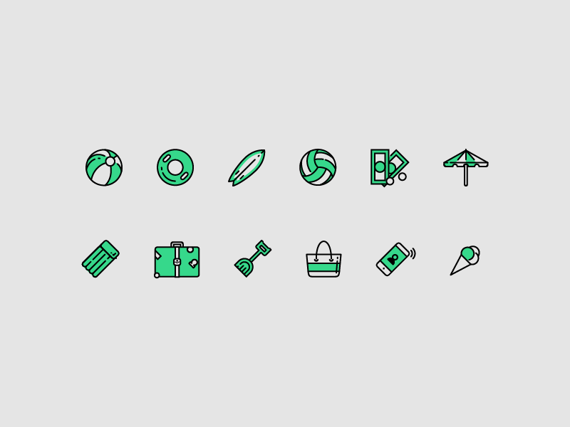 Holiday icons refreshh illustration design iconography relax sun holiday vacation beach icons