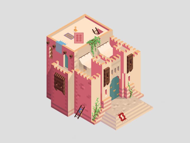 Desert city house WIP design building vector isometric house refreshh illustration hexels2