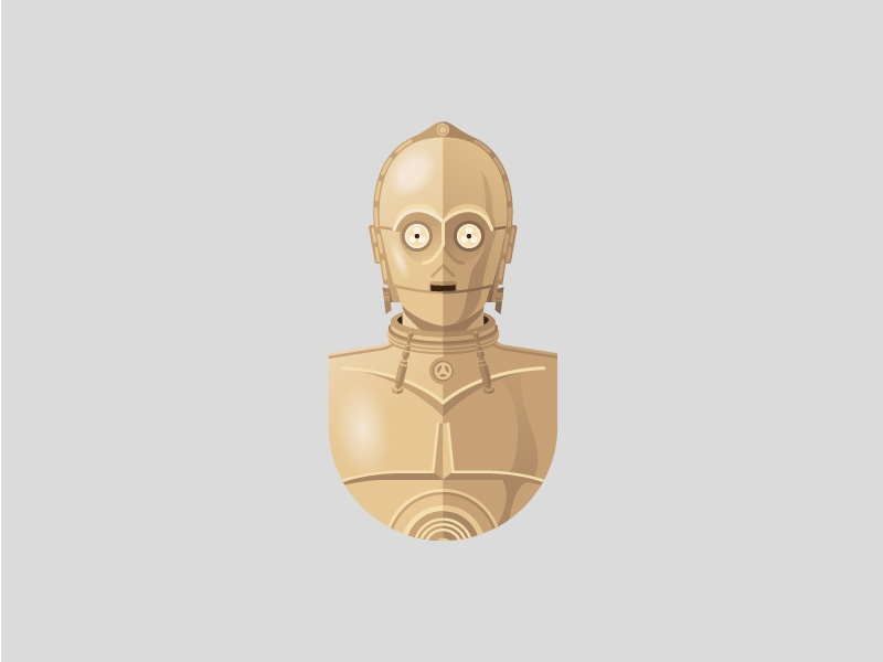 C-3PO refreshh design face illustration starwars c3po character robot